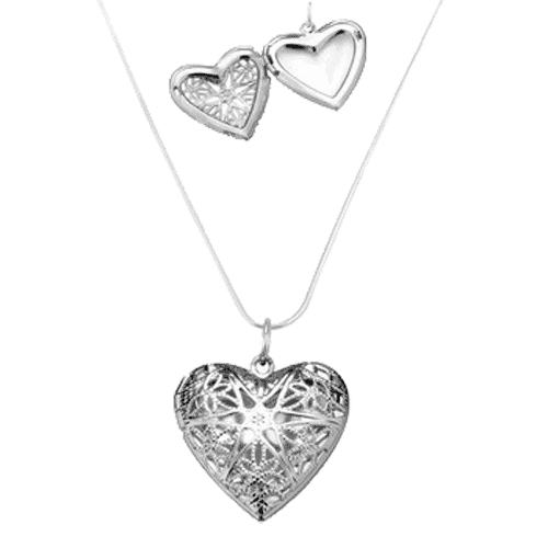 Sterling Silver Aromatherapy Jewelry - Heart Locket with Chain