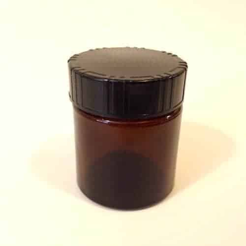 Amber Glass Jars with Black Cap